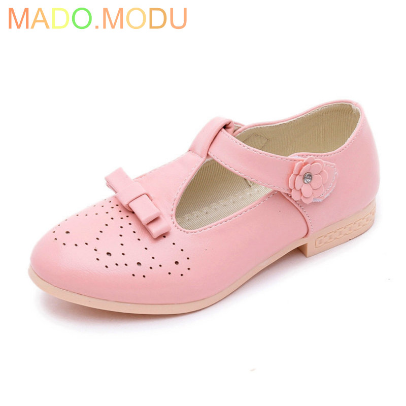 Girls Princess Shoes 2018 New Arrival Bowknot Brand Child PU Leather Sandals Flowers Kids Party Shoe for Sneakers EU 26~36