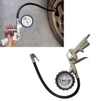 220PSI Авто Велосипедный Спорт шин Давление Датчик метр воздуха Надувное Gun гибкий шланг TJ