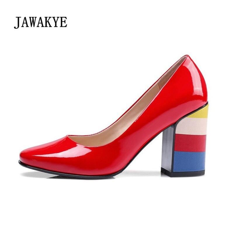 857fcfd06468b JAWAKYE Regenbogen Ferse Lackschuhe Frauen Luxus Patchwork schwarz red  Chuncky High heels Frauen Pumpen Zapatillas Mujer in JAWAKYE Regenbogen  Ferse ...