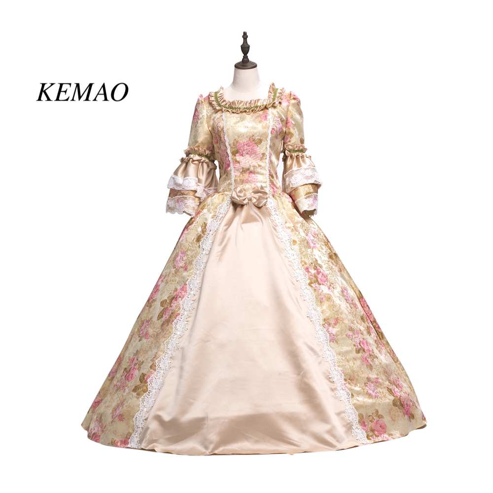 KEMAO Victorian Rococo Costume Women's Adults' Dress Purple Vintage Cosplay Flocked Long Sleeves Bell Ankle Length
