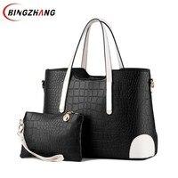 Women Bag Crocodile Pattern Composite Bag Vintage Women Messenger Bags Shoulder Handbag Purse Wallet Leather Handbags