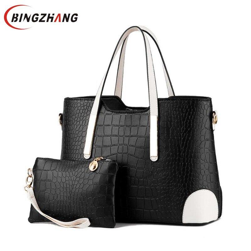 Women Bag Crocodile Pattern Composite Bag Vintage Women Messenger Bags Shoulder Handbag Purse Wallet Leather Handbags L8-24