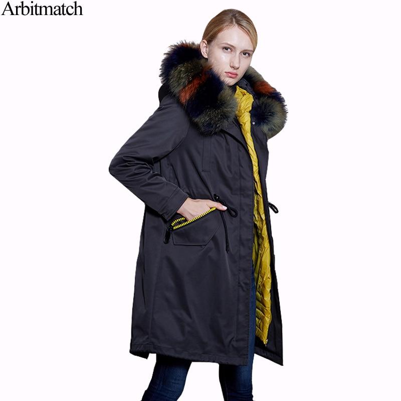 Online Shop Arbitmatch Winter Down Coat Women Large Real Raccoon ...