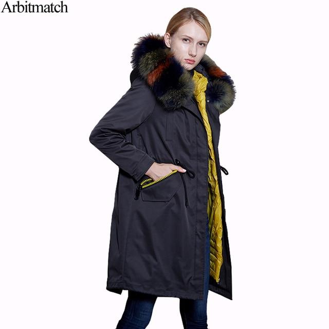 Arbitmatch Winter Down Coat Women Large Real Raccoon Fur Fashion Warm Womens  Down Jackets Hooded Ladies Parka Thicken Outerwear 8e6e4949c1d1