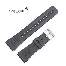 CARLYWET 22mm (20mm buckle) Black Silicone Rubber Straight  End watchband Strap Belt Silver Polished Pin Spring Bar Buckle недорого