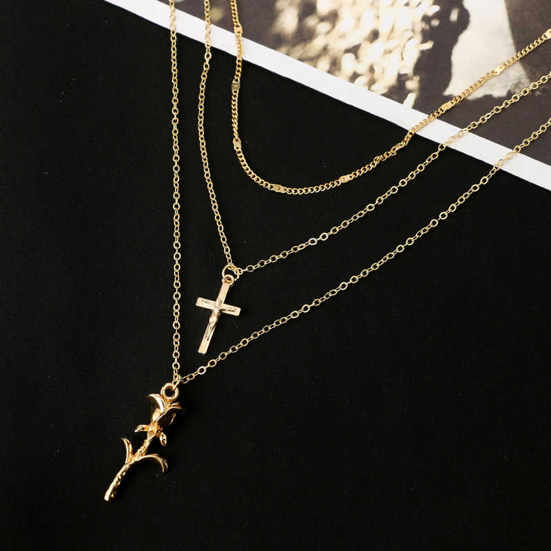 docona Vintage Gold Color Cross Rose Flower Pendant Necklaces for Women Girl Floral Layered Necklace Bohemia Jewelry 4418