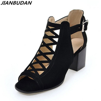 JIANBUDAN Size Plus 35 43 Suede Fashion Hollow Sandals 2017 New Fish Head High Heeled Sandals