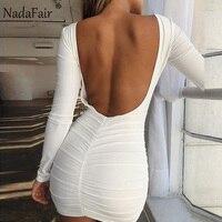 Nadafair сексуальное Клубное платье с открытой спиной и глубоким вырезом, женское белое черное мини-платье с длинным рукавом, вечерние платья