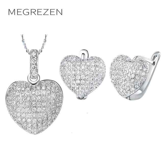 04ffa33243f7 Megrezen boda Pendientes y collar con Piedras para la novia joyas de plata  cubic zirconia joyería