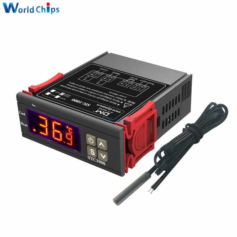 STC-1000 DC 12V 24V AC 110V 220V 10A deux relais sortie LED régulateur de température numérique Thermostat incubateur avec refroidisseur de chauffage