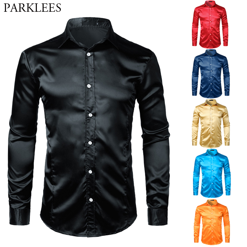 Mens Shinny Silk Like Satin Luxury Dress Shirts 2019 Brand New Men Wedding Prom Tuxedo Male Casual Shirt Camisa Masculina Black