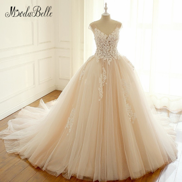 Colour Wedding Gown: Modabelle Pink Blush Wedding Dress Flower 3D Floral Peach