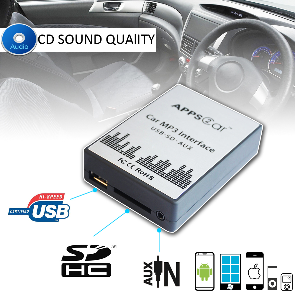 Car Radio MP3 Interface USB SD AUX Digital Music Changer Adapter for Lancia Phedra 2002 2011 (fits Select OEM Radios)