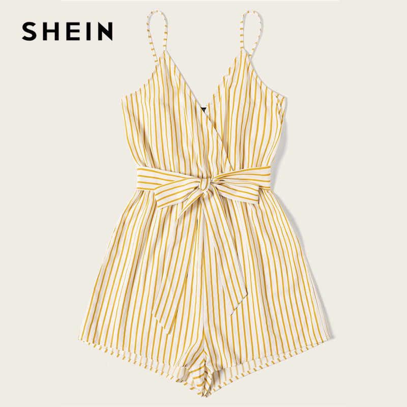 Shein listrado envoltório cami macacão das mulheres com cinto mulheres férias praia sem mangas sexy macacão 2019 verão playsuit