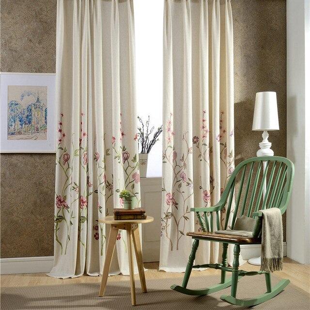 Flores de estilo rstico Francs vid de la flor de lino bordado cortinas para las ventanas de piso a techo de la sala de estardormitorio