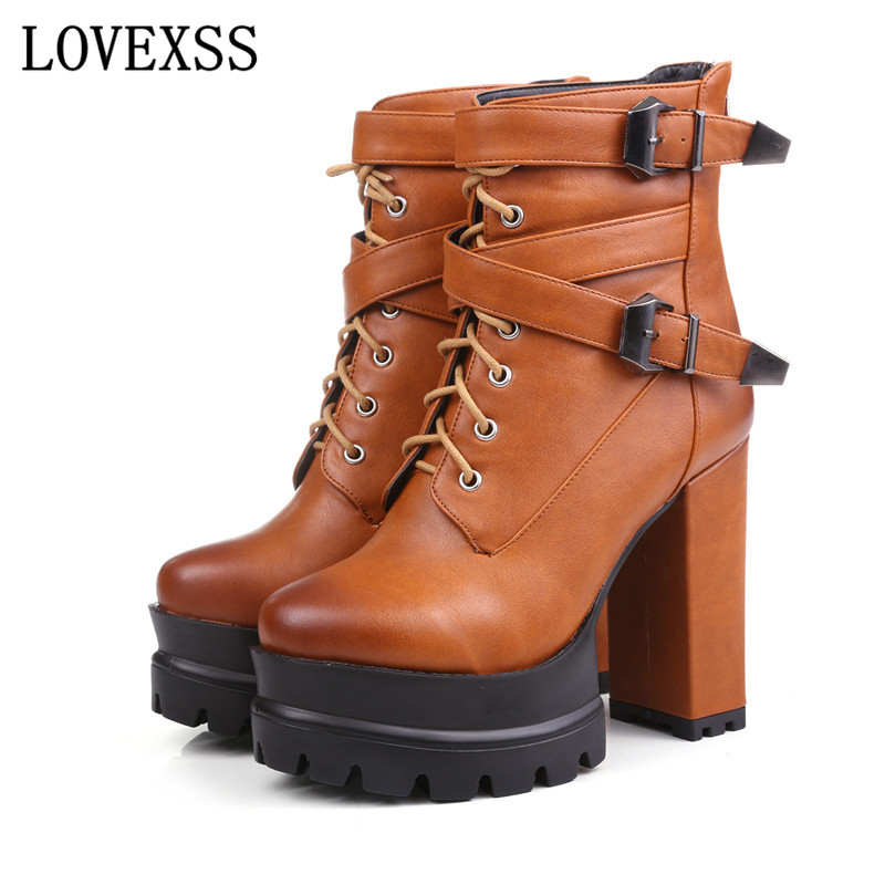 ФОТО LOVEXSS 12 CM High Thick Crust Gothic Boots Plus Size 33 - 43 Black Gray Brown Yellow Short Plush Lace-Up 2017 Winter Shoes