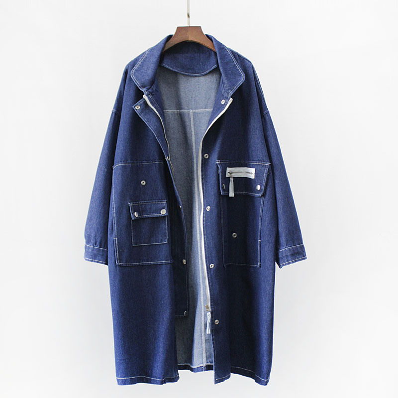 Denim   trench   coat women long autumn large size windbreaker femme   trench   coats blue coat wild casual 2018 new Coupe-vent Femme