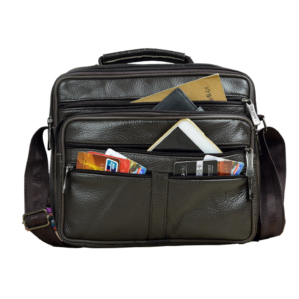Handbags Tote Briefcase Messenger-Bag Natural-Skin Genuine-Leather New-Arrival Boy Men