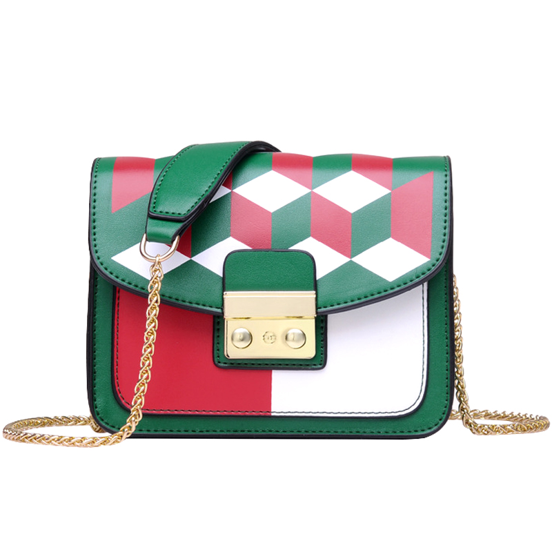 Women Chains Strap Fashion Shoulder Bag Patchwork Plaid Elegant Women Bags European Style Ladies Messenger Bag