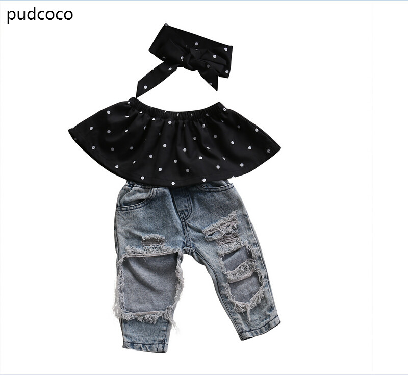 Kids Baby Girls Summer Dot Sleeveless Off Shoulder Tops+Ripped Pocket Jeans+Headband 3PCS Outfits Clothes Sets Clothing
