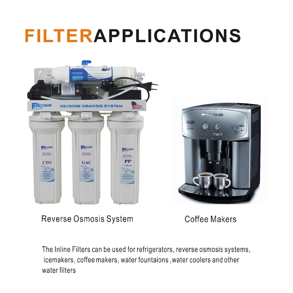 2 Pack of Universal Fridge and Icemaker Water Filter Inline Coconut Carbon Block Filter 2000 Gal, 2