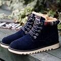Ahora los zapatos de Los Hombres de invierno con felpa cálido gamuza botas de nieve del tobillo atan para arriba los zapatos planos de alta calidad M438