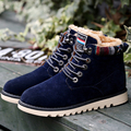 Now shoes Men winter with plush fur warm suede ankle snow boots lace up shoes flats high quality M438