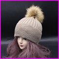 Sombreros De Lana para mujer de Invierno de Las Señoras sombrero De Piel Gorro De Piel Pom Poms Bobble Esquí Sombrero de Punto Gorros Gorras 2016