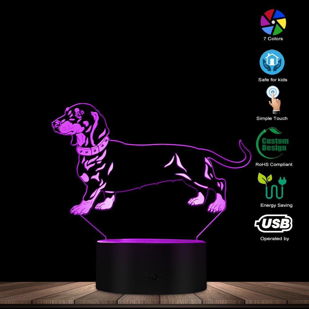 Dachshund Shape Design 3D Optical Illusion Night Light Animal Pet Puppy Sausage Dog Table Lamp Wiener-Dog Sleep Atmosphere Light