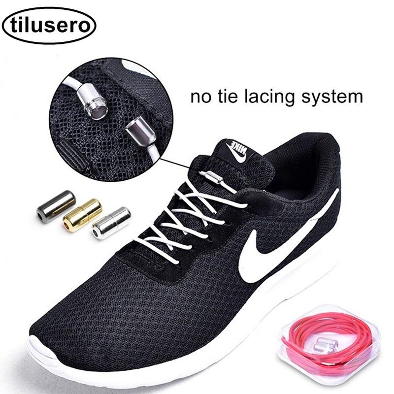 1Pair No Tie Elastic Lacing System Locking Buckle Round Shoe Decorations F0581Pair No Tie Elastic Lacing System Locking Buckle Round Shoe Decorations F058