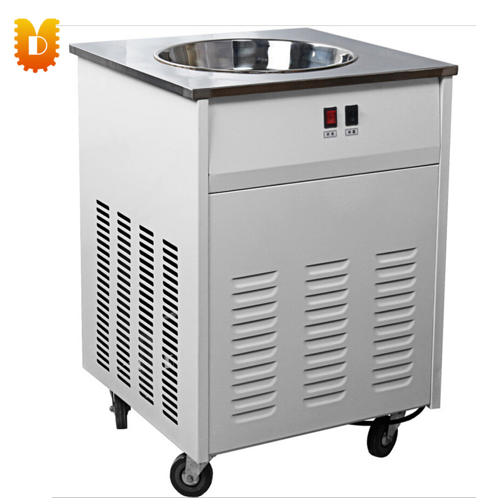Fried/Freezing Ice cream Roller Machine chinese single round pan rolled ice cream machine fried ice cream roll machine with 6 barrels