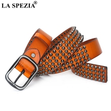LA SPEZIA Pin Buckle Belt Men Real Cow Leather Rivet Male Belt For Jeans Orange Genuine Leather Punk Designer High Quality Belts цена и фото