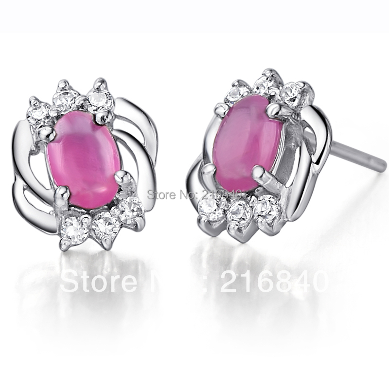 Natural Ruby Fancy Sapphire Earring Stud 925 Sterling silver Woman Fine Elegant Pink Gem Jewelry Girl Birthstone Christmas Gift natural pink ruby ring flower in 925 sterling silver fancy sapphire jewelry fashion elegant luxury birthstone gift sr0159r