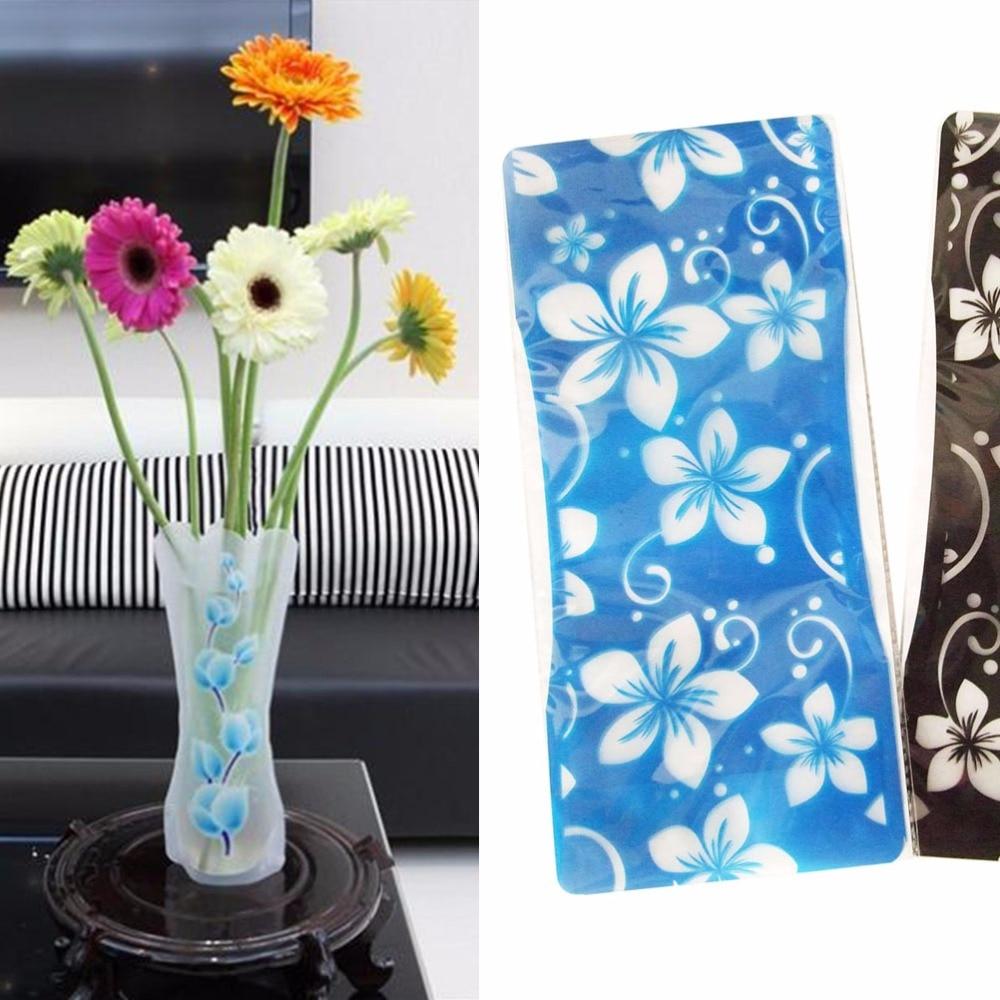 2pcs hot sale foldable reusable plastic unbreakable vase for Home decor sale