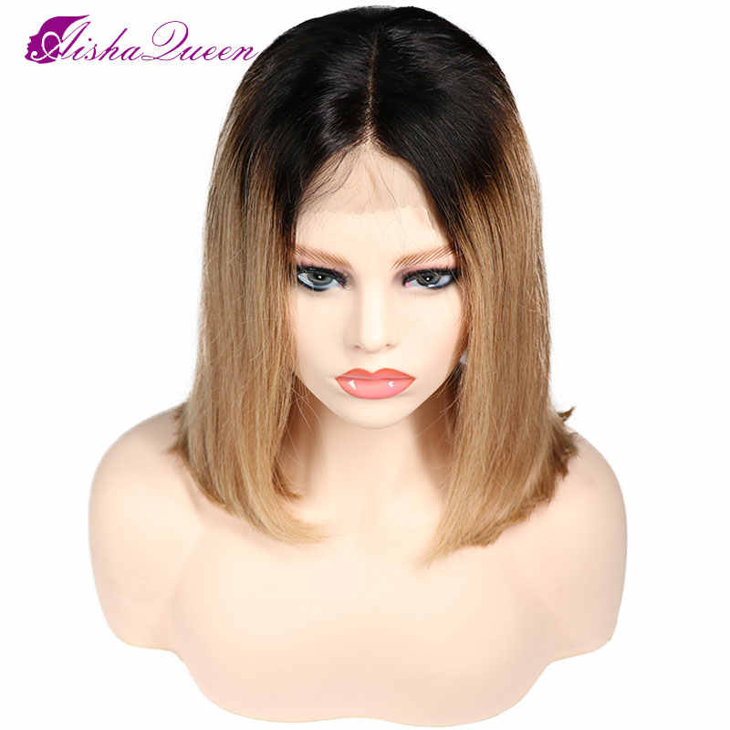 T1B/27 Short Bob Wig Lace Front Human Hair Wigs Full Brazilian Straight Lace Wig Ombre Color Wig Remy Human Hair Free Shipping