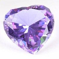 90mm Coloré Coeur Cristal de Diamant Presse-papiers En Verre Artisanat Fengshui Décor À La Maison Ornements Cadeau De Mariage D'anniversaire