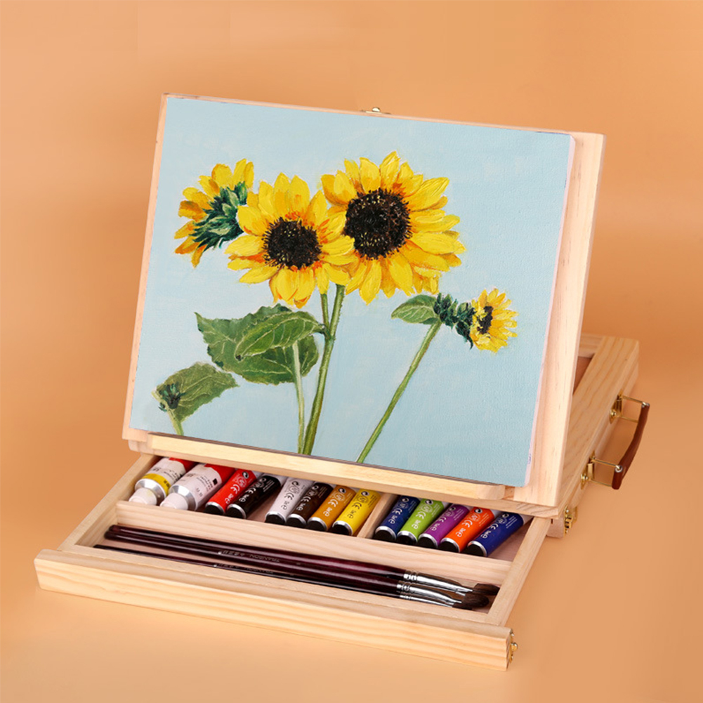 Desktop Wooden With Drawer Art Adjustable Folding Board Painting Easel Lightweight Practical Students Portable Sketching School