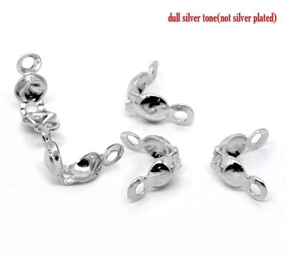 8SEASONS 500 Silver Tone Color Calottes End Crimps Beads Tips 8x4mm (B12558)