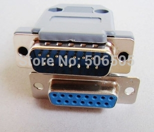 Free shipping D-SUB DB15 <font><b>15pins</b></font> <font><b>Female</b></font> and <font><b>Male</b></font> with shell Solder Type Welding <font><b>Connector</b></font> DIY 10pcs/lot image