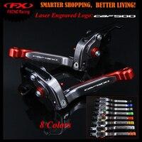 With Logo New Red Titanium For Honda CBF 500 CBF500 2006 2007 CNC Adjustable Folding