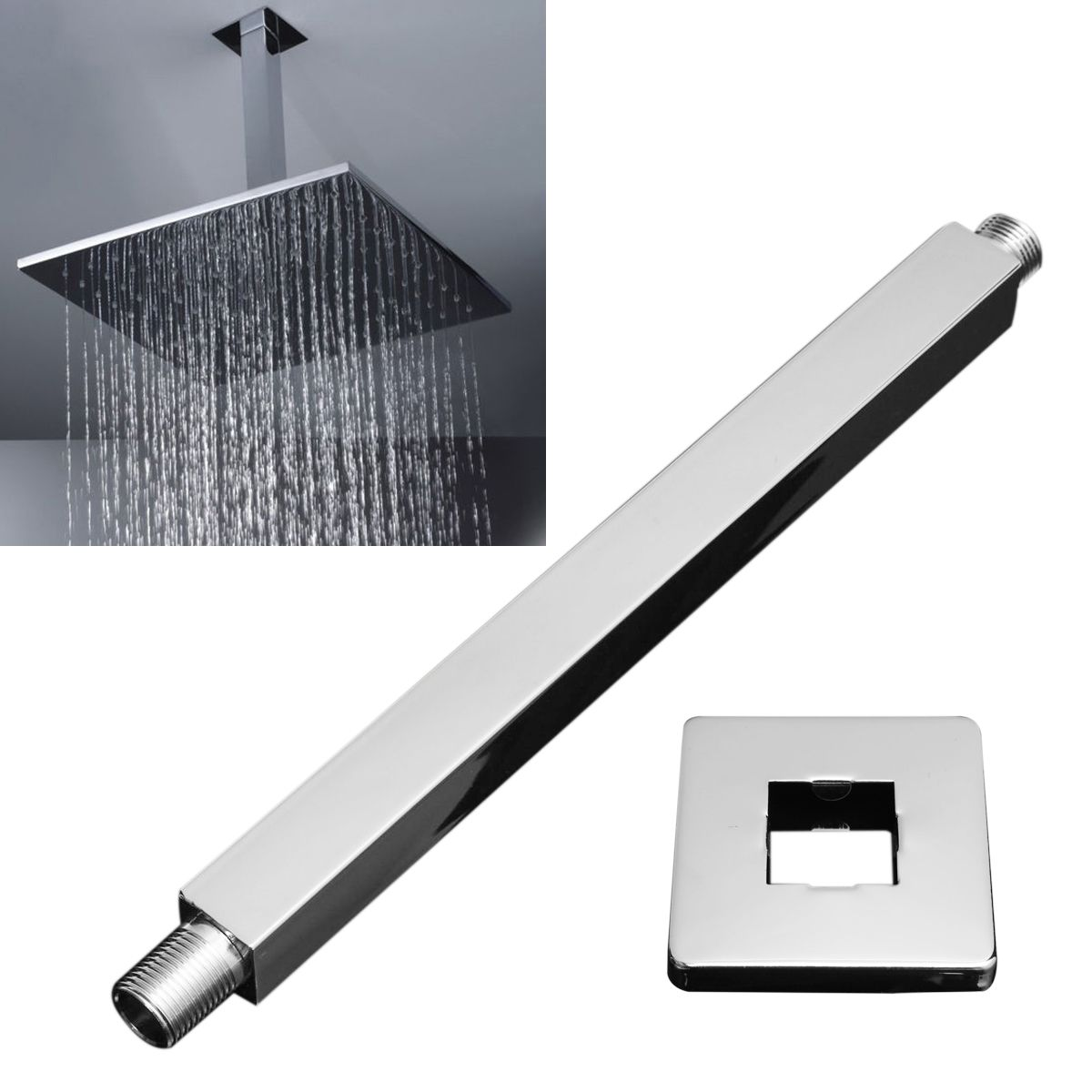 Mayitr Bathroom Square Wall Mounted Shower Extension Arm Stainless Steel Rain  Shower Head Extension Pipe 34cmPopular Extension Shower Head Buy Cheap Extension Shower Head lots  . Rain Shower Head With Extension Arm. Home Design Ideas