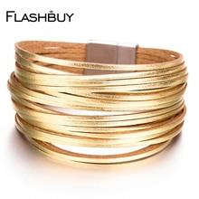 Amorcome сплав золота и серебра Кожаные браслеты 20 полосы многорядные браслеты для женщин Многослойные широкие женские ювелирные изделия
