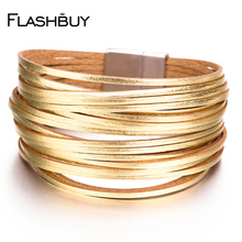 Flashbuy Alloy Gold Silver Leather Wrap Bracelets 20 Strip Multi-Row Bangles For Women  Multilayer Wide Female Jewelry flashbuy rhinestone wide leather bangles for women rhinestone wave pattern female multilayer bracelets female wholesale bracelet
