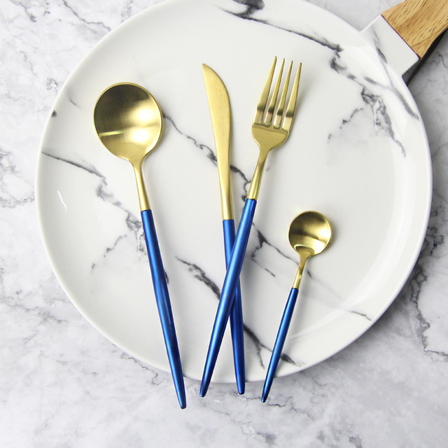 High Quality 304 Stainless Steel Flatware Dinnerware Set Knife Fork Set Tableware Gold Royal Cutlery Kitchen