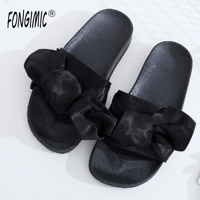 Fongimic Women Summer Slippers Comfortable Solid Flat Shoes New Women Casual Shoes Simple Bow tie Beach Slipper Green Black Pink men beach slipper fashion summer sandals casual shoes toe solid plastic fishermen comfortable water play shoes mc302