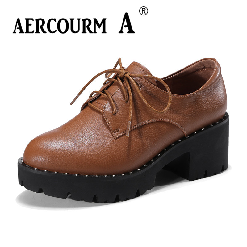Aercourm A 2018 Genuine Leather Women Platform Shoes New Round Toe Female Casual Square High Heels Woman Wedges Shoes DNT88-1 genuine cow leather spring shoes wedges soft outsole womens casual platform shoes high heel round toe handmade shoes for women