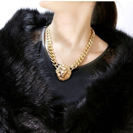 2016 chunky  chain necklace  plated chain Lion head Statement women & men fashion Necklaces for Exaggerated Jewelry