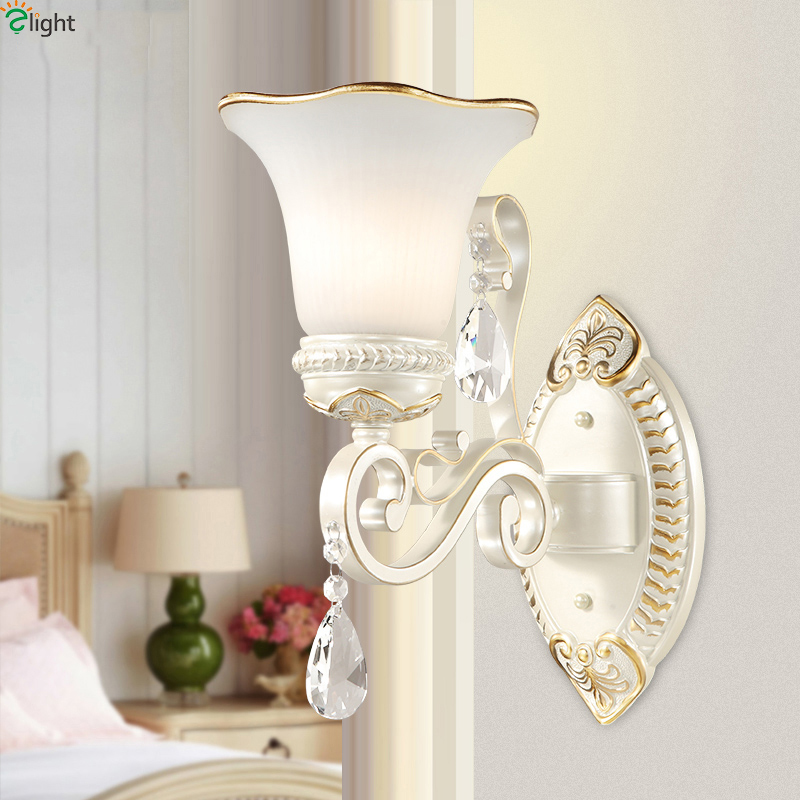 Europe Classic Frosted Glass Led Wall Lamps Luminaria Lustre Resin Bedroom Led Wall Lights Corridor Foyer Led Wall Light Fixture