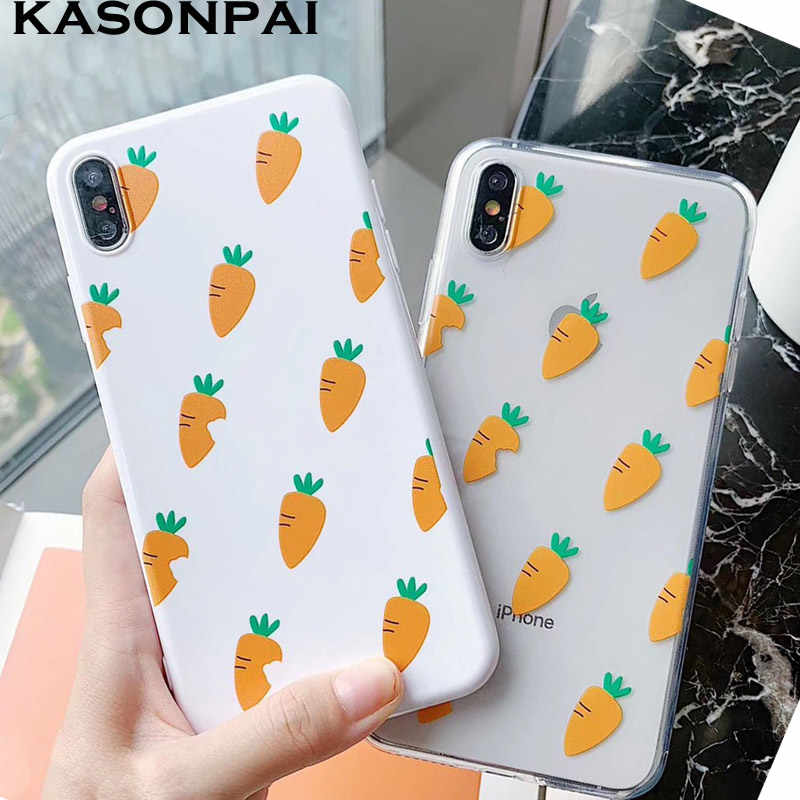 Cute Carrot Phone Cases For iphone 8 7 6 6S Plus Coque Soft Clear TPU Funny Lovely Back Cover For iphone X XS Max XR Case Fundas