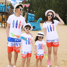 2pcs family matching outfits father mother daughter son mommy and me clothes T shirt+shorts clothing sets sand family look dress недорого